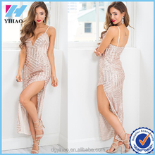 Women Sexy Elegant Long Evening Dresses Spaghetti Strap Sequins Sexy Party Dresses