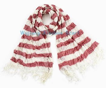 New 100% cotton stripe scarf