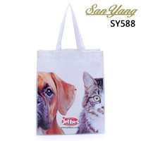 Dog and cat pattern white non woven fabric non-woven shoulder shopping bag