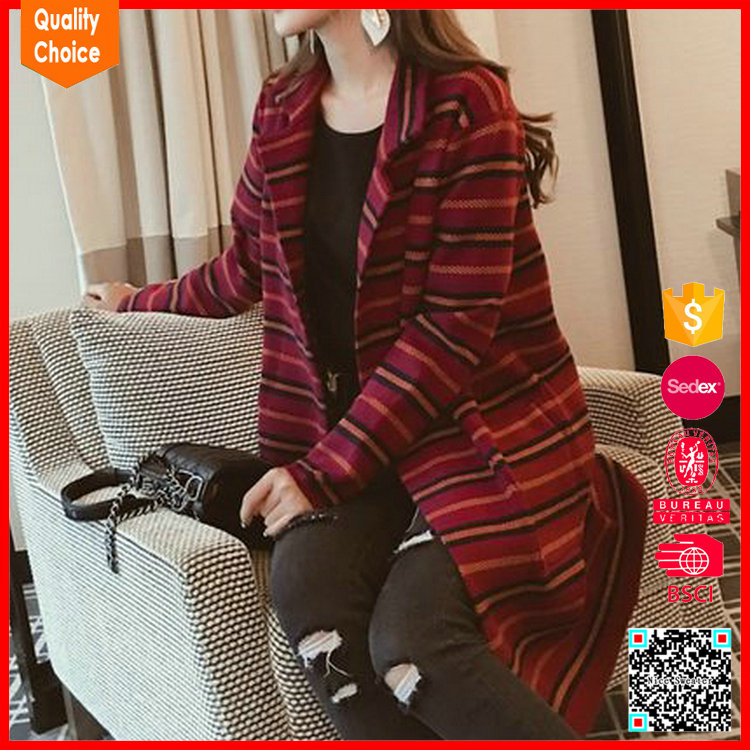 Womens' v-neck long sleeve cardigan design of hand knitting sweaters