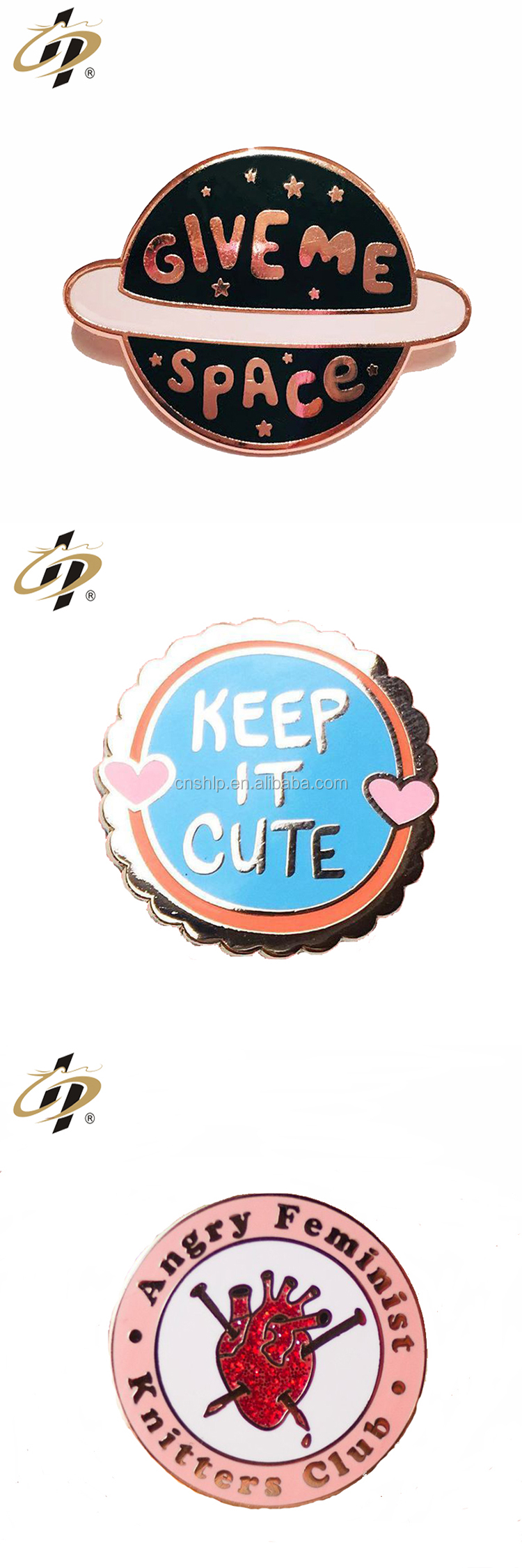 Custom metal round shaped funny enamel lapel pins