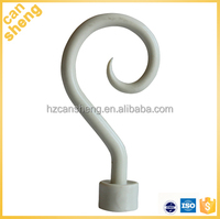 Plastic curtain rod finial in painted color for High quality hot selling fancy plain curtain pipe rod