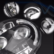 80W Round 7 inch LED Headlight for Jeep Wrangler with Halo Angel Eye