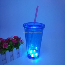 LED Flashing double wall light up cup Reusable party tumbler, double wall insulated mug, BPA free tumbler