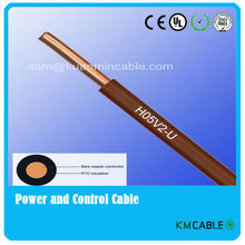 90 degree cable,H05V2-U,CE certificated,single core wire,6 mm2 electric wire