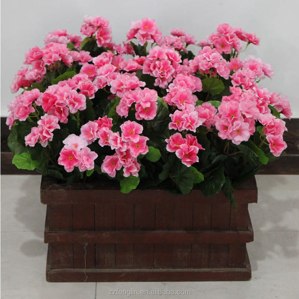 35cm 7 heads silk cheap wholesale artificial geranium flower bush for home office indoor decoration