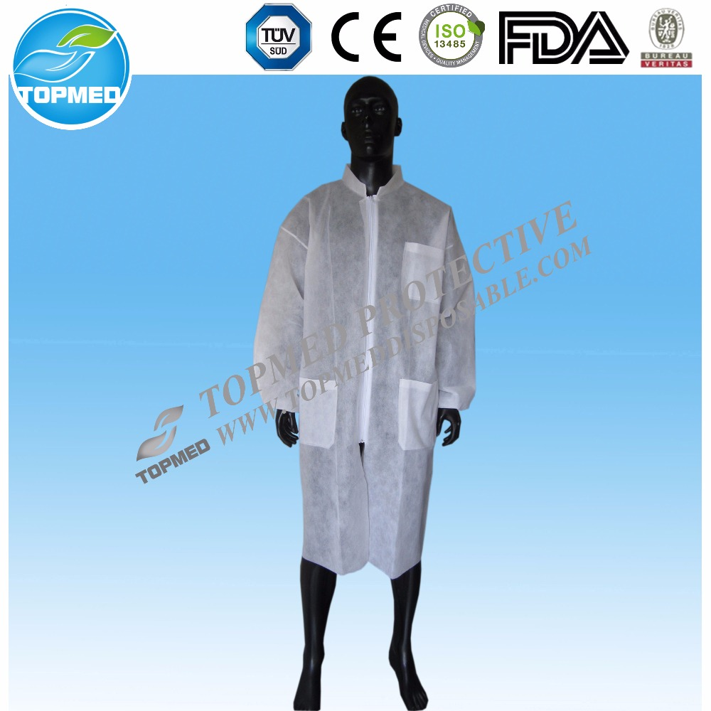 Disposable nonwoven Lab Coat ,Sterile Lab Coat,white medical lab coat