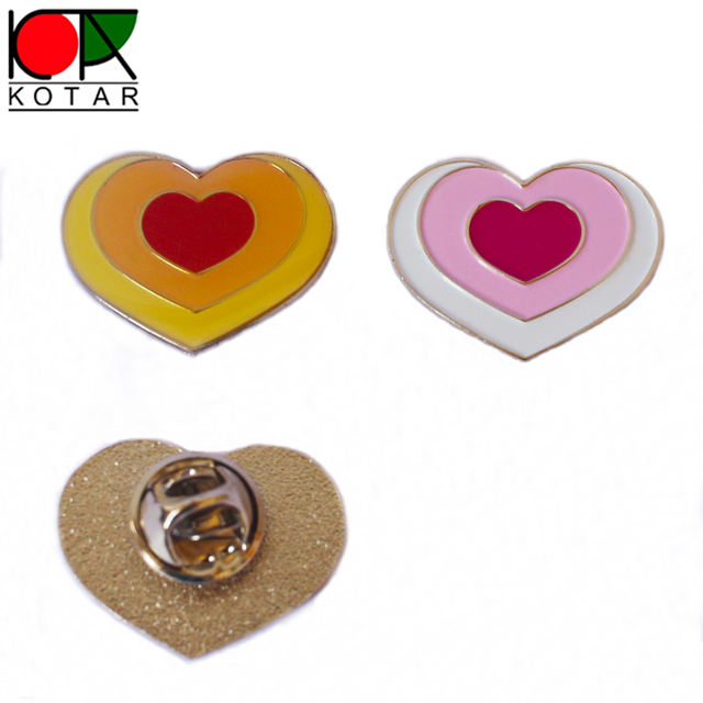 cheap lovely heart shape lapel badge with butterfly clutch
