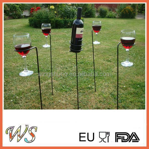 Wine Sticks Holds Bottle and 2 Glasses