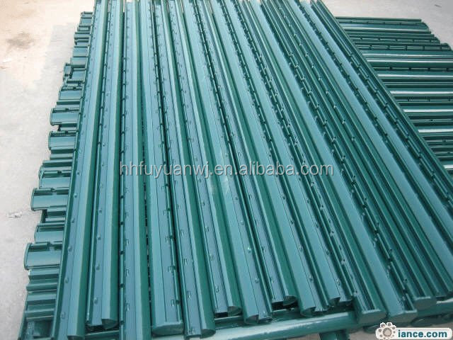 Powder coated metal fence post