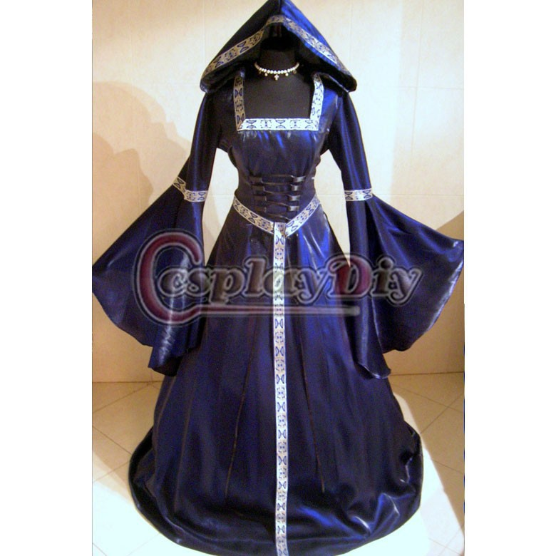 renaissance medieval gothic hooded dress for female cosplay costume custom made