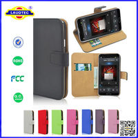 Luxury Genuine Real Leather Flip Case Wallet Cover For Samsung Galaxy Note 4 2014 New arrival