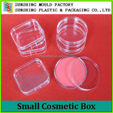 Plastic packing tool box lovely small clear plastic storage box cosmetic powder case with lid