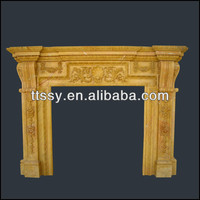 Antique wooden fireplace mantel