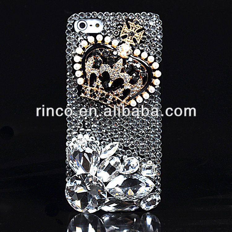 Luxury Bling handmade royal crown crystal diamond hard case for iphone 5 5g 5th