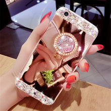 Bling Bling Diamond Glitter Mirror Luxury Phone Case With Ring Holder For iPhone 5S 6 6S 7 8 Plus x Case