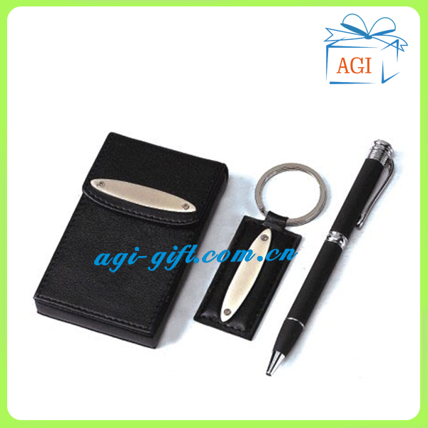 Boxed leather business name card holder keychain pen for Keychain business cards