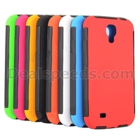 Detachable 2 in 1 Front and Back Full Protective Rubber Coated PC+TPU Hybrid Cover for Samsung Galaxy S4