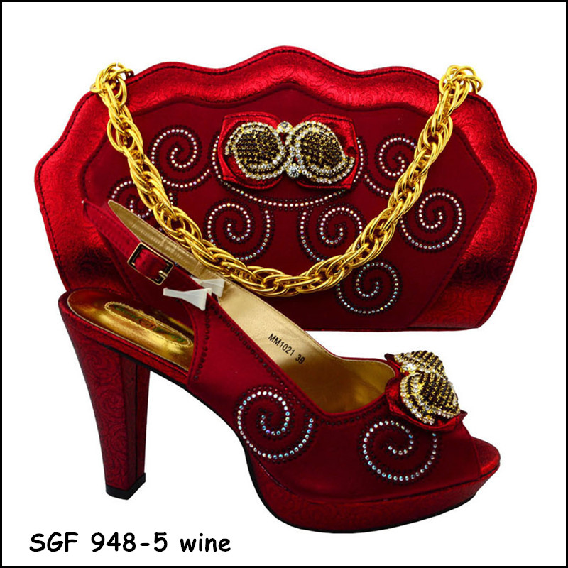 New Arrival wine color ltalian shoes and bag set african wedding shoes and bag sets ltalian shoes and bag to match for party