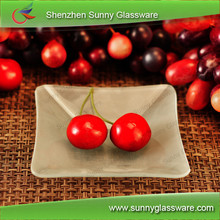 Square Shape Glass Plates for Fruit wth Frosted Effects