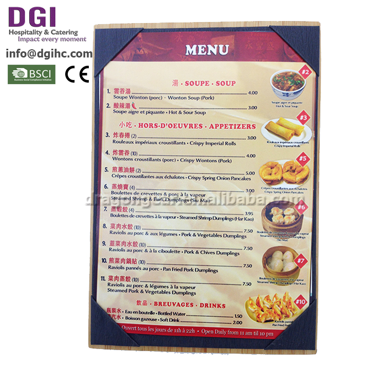 Fast delivery wooden menu stand cover posters