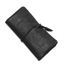 black matte sheepskin genuine leather ladies purse