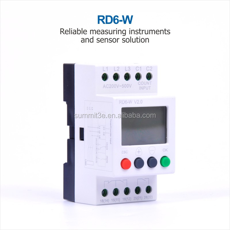 Over/Under Voltage Monitoring Relay 3 Phase LCD Voltage Protective Relay RD6-W Plus in English