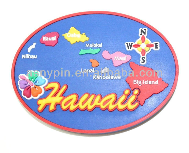 Hawaii Beach Islands Map Souvenir Refrigerator Rubber Plastic Magnet Blue