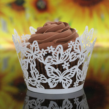 50 PCS Beautiful Cup Cake Topper Muffin Wrappers Laser Cut Butterfly Cupcake Wrappers for Birthday Wedding Party Decoration