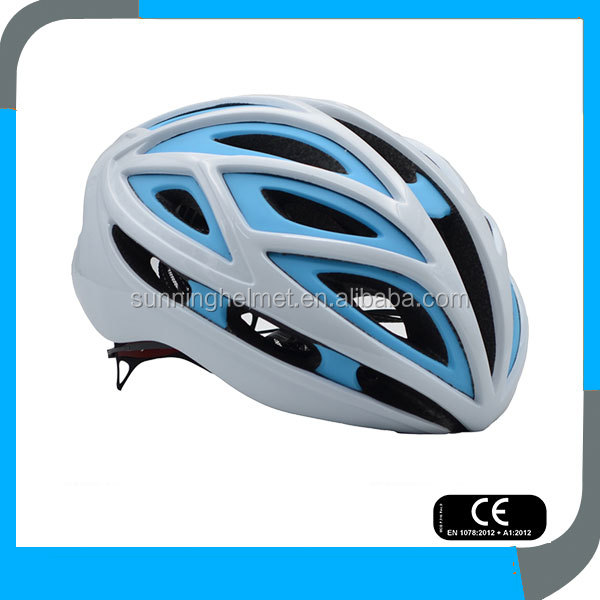 supply best cool top adjustable CE twice PC shell in mould colorful white blue road bicycle helmet for women and ladies girls