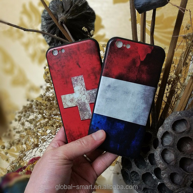 Flag painting embossed phone case for iphone 6 7 plus , Cheap price soft tpu cover case for phone