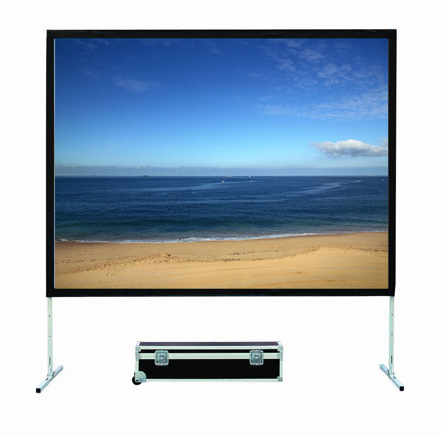 "150"" cheap portable fast folding projector screen"