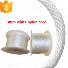 3 mm white color solid braid nylon twine rope cord