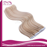 "Bolin Factory 20"" Tape in Skin Weft 100% Remy Human Hair Extensions # 27 with #613 Bleach Blonde"