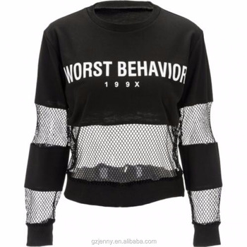 Custom Woman Black Sweater 199X Printing Mesh Cotton Contrast hoodies top Long Sleeve Mesh Sweatshirt