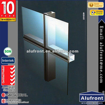 Top Quality water and wind resistant aluminum glass curtain wall/aluminium extruded sections curtain wall price for project