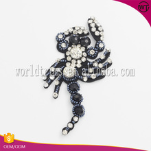 High quality scorpion pattern rhinestone beaded felt applique for clothes