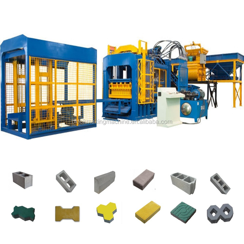 QT4-15 concrete block production line, overseas available cement brick block making machine price
