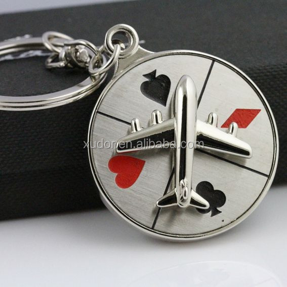PROMOTIONAL METAL SPIN TURNTABLE POKER GAMBLE KEYCHAIN