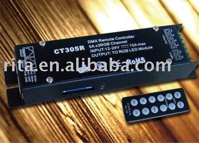 DMX512 constant voltage decoder with remote controller; P/N:CT305R