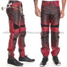 newest design split joint black and red mens leather pants