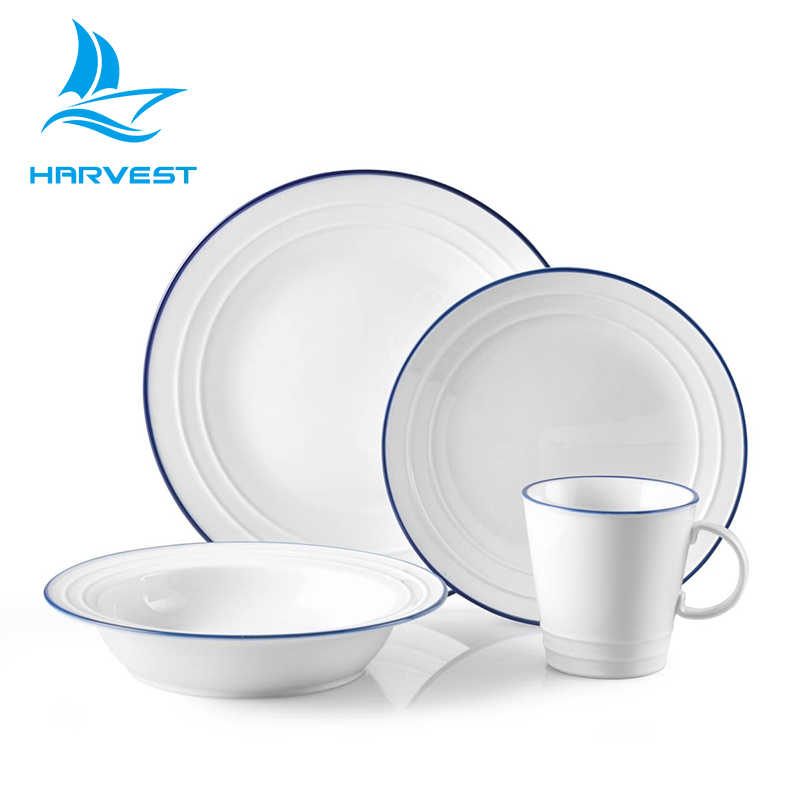 16 Pieces Rustic Blue-rimmed White Porcelain Dinnerware Set