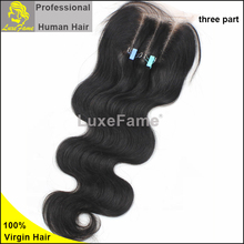 7A Free Shipping indian Virgin 100% Human Hair Closures body wave hair Lace Closure 4*4 Middle 3 Way Free Part Bleached Knots