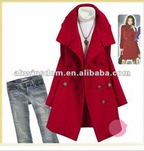 2012 fashion lady double button woolen cloth shitsuke coat