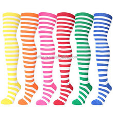 wholesale Girl Extra Long rainbow color Striped Thigh High Socks Women Athletic Sport Tube Over Knee Stocking