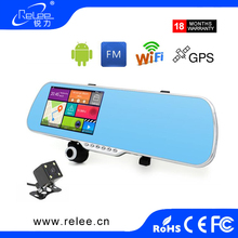 Hot selling 5 inch Rearview Mirror Car DVR Dual Lens Vehicle Traveling Camera Recorder dash camera gps