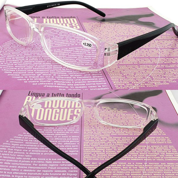 2012 fashion design cheap white frame black temple reading glasses