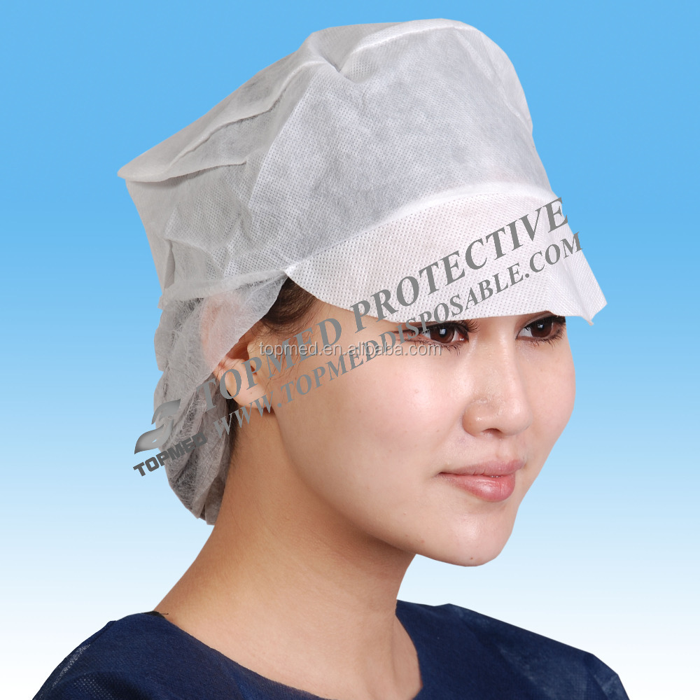 machine made surgical scrub caps/disposable scrub caps/paper scrub caps with peak
