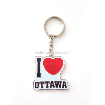 wholesale custom engraved I LOVE OTTAWA keychain soft enamel metal keyring