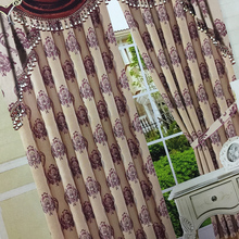 Flower pattern heavy jacquard linen polyester blend upholstery curtain fabric